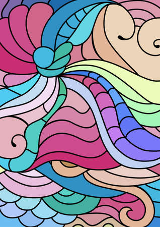 inspired tribal ornaments with hand drawn doodle drawings. Bohemian colorful abstract background. Vectores