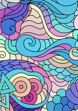 inspired tribal ornaments with hand drawn doodle drawings. Bohemian colorful abstract background. Ilustração