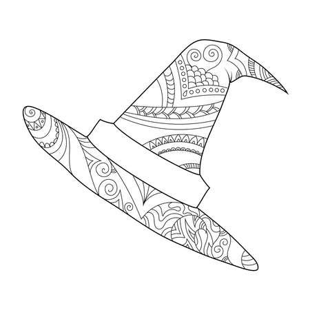 Zendoodle hat coloring page. Halloween boho   inspired line art illustration.