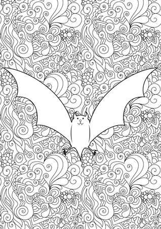 Zen doodle cute scary bat. Halloween boho  inspired line art illustration. Vectores