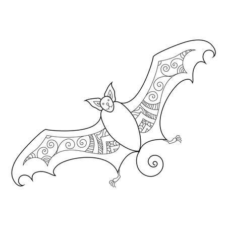 Zen doodle cute scary bat. Halloween boho  inspired line art illustration. Ilustração