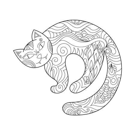 Zen doodle scary cat. Halloween boho  inspired line art illustration.