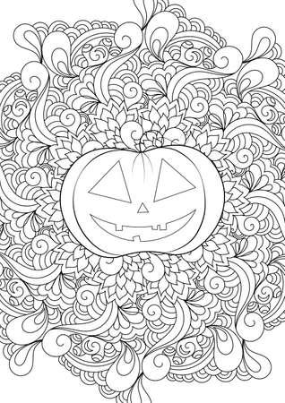 Zen doodle pumpkin. Halloween boho  inspired line art illustration. Ilustração