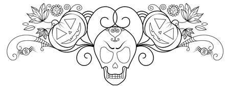 Halloween decorative skull illustration with boho pumpkins and ornaments.