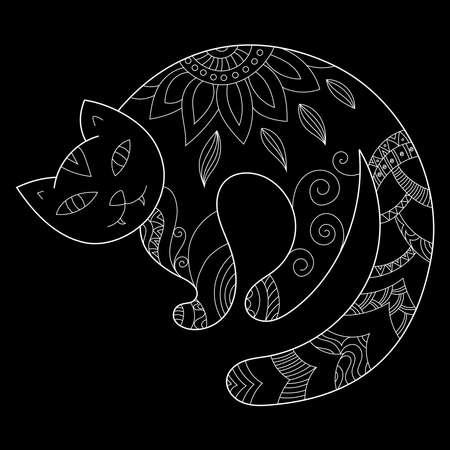 Zen doodle scary cat. Halloween boho inspired line art illustration on black Ilustração
