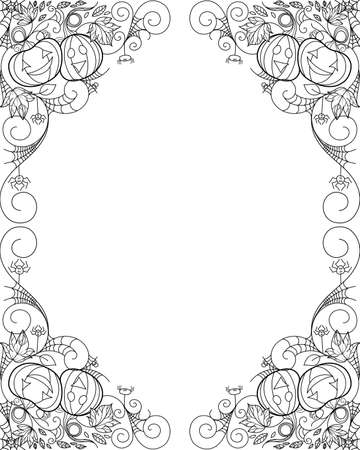 Zen doodle Halloween decorative frame with pumpkins and ornaments. Season holiday boho inspired line art illustration.