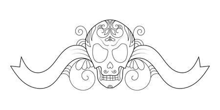 Halloween decorative skull illustration with boho ornaments. Ilustração