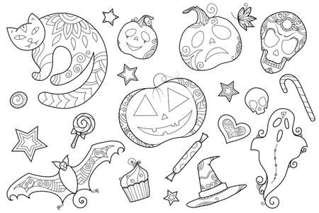 Zen doodle Halloween clipart with cat, pumpkins, sweets and other symbols. Boho inspired line art illustration.
