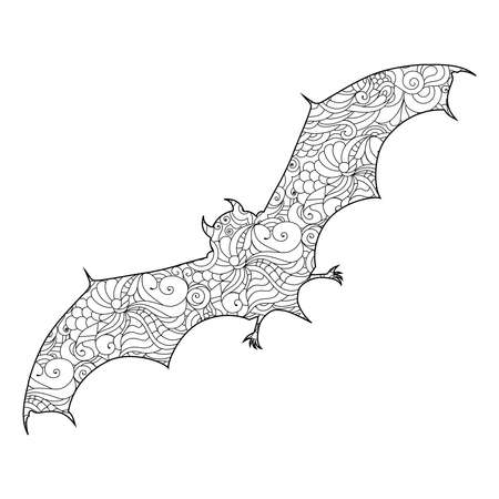Zen doodle cute scary bat. Halloween boho inspired line art illustration