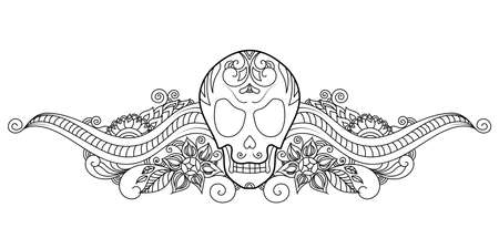 Halloween decorative skull illustration with boho  ornaments.
