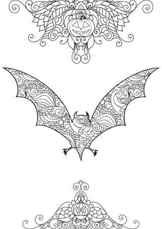 Zen doodle cute scary bat. Halloween boho inspired line art illustration.
