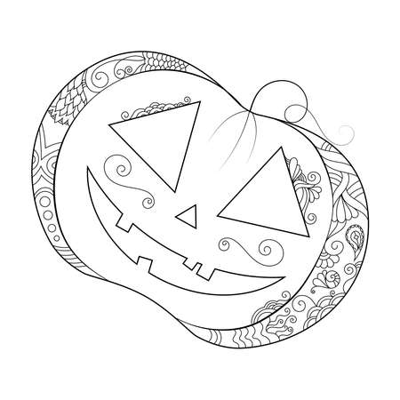 Zen doodle pumpkin. Halloween boho inspired line art illustration.