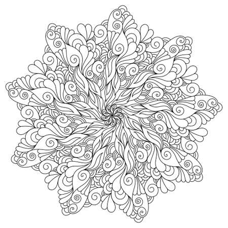 inspired oriental mandala coloring page. Coloring book illustration for stress relief and relaxation. Vectores