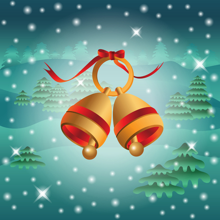 two: Background with two golden Christmas bells. Illustration
