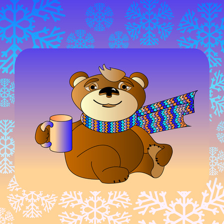 cordiality: Vector illustration of cute cartoon bear in a scarf with a cup Illustration