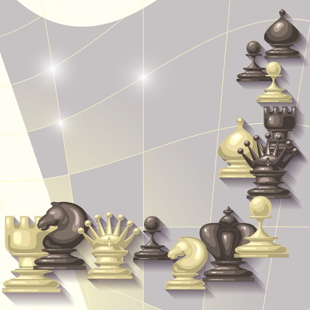 strategic position: Vector  abstract  background with  place for your text. Chess Figures design.