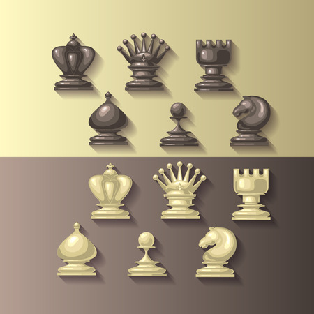 chess rook: Vector illustration of chess pieces. Competition or strategy concept.  For your design, cover template, chess school or chess club. King, queen, rook, bishop, knight and pawn.