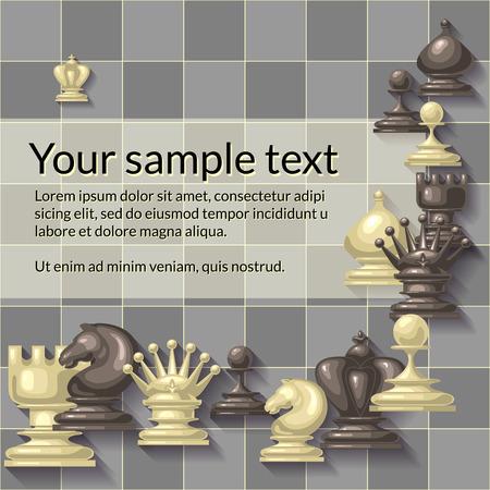 caballo de ajedrez: Ilustración del vector de piezas de ajedrez. Competencia o concepto de estrategia. Para su diseño, cubrir plantilla, escuela de ajedrez o un club de ajedrez. Rey, reina, torre, alfil, caballo y peón. Vectores