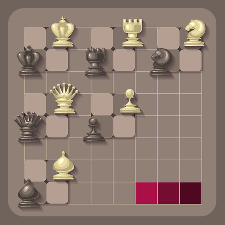 school strategy: Vector illustration of chess pieces. Competition or strategy concept.  For your design, cover template, chess school or chess club. King, queen, rook, bishop, knight and pawn.