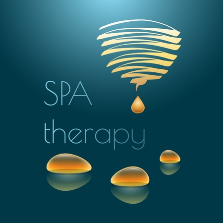 spa therapy: Spa therapy vector illustration with yellow drops  on dark blue background. Illustration