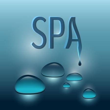 masajes relajacion: Spa ilustración del vector del tema con gotas azules sobre fondo azul oscuro. Vectores
