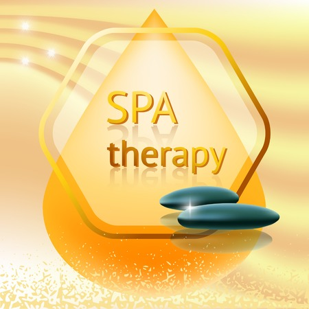 i label: Spa therapy theme vector illustration with massage stones   on yellow background. Illustration