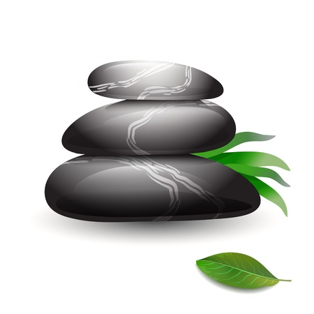 beautiful rare: Stacked stones with green leaves on wight background. Stone spa care concept. Zen pebbles and green leaves.