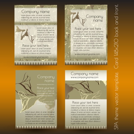 organic background: Spa advertisement card design template with contour exotic leaves on golden background.
