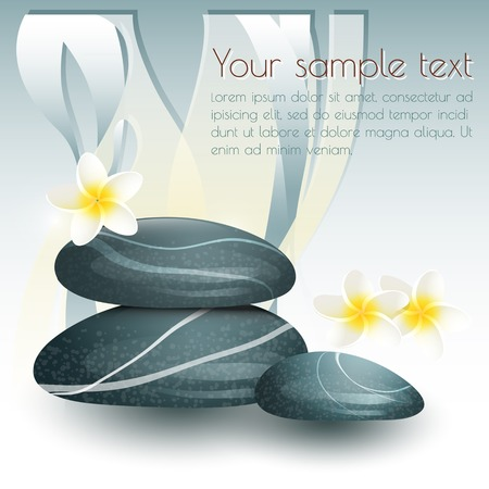 Vector still life on spa theme with stones and flowers on gray  background