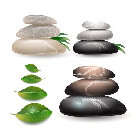 zen stone: Stacked stones with green leaves on wight background. Stone spa care concept. Zen pebbles and green leaves.