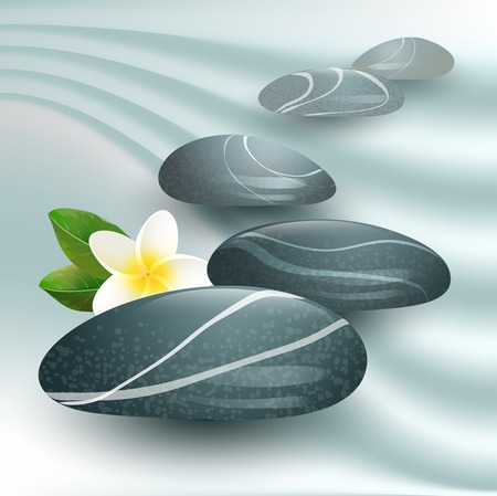 stones with flower: Vector still life on spa theme with stones and flower on gray  background Illustration