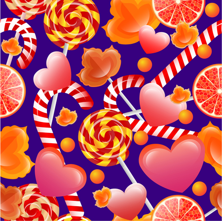 sienna: Vector seamless pattern with sweets and lollipops. Background for your design, textile, fabric, surface textures, packaging.