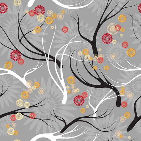 fabric surface: Vector set seamless patterns with  black and white branches. Hand-sketched for your design, textile, fabric, surface textures, packaging