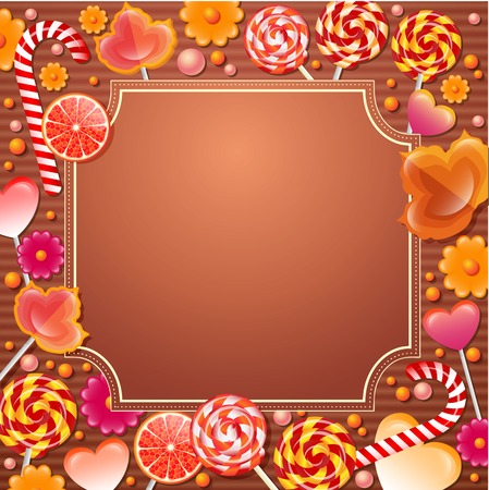 motley: Vector frame with  sweets. Candys glow motley illustration. Illustration