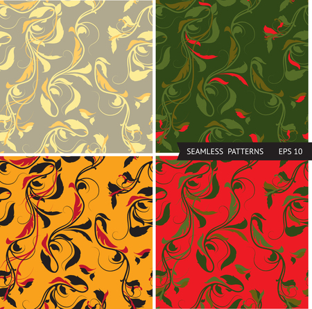 fabric surface: Vector set seamless patterns with  branches and leaves. Hand-sketched for your design, textile, fabric, surface textures, packaging Illustration