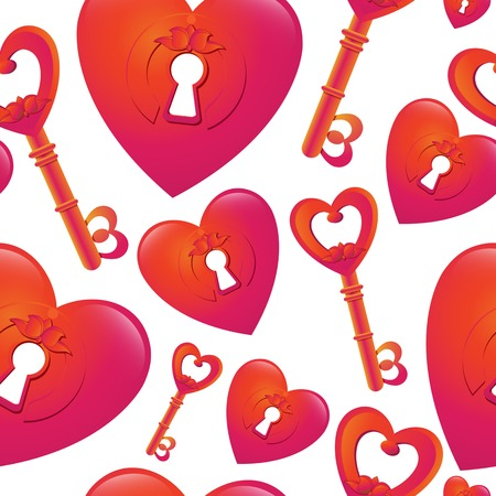 fabric surface: Vector seamless pattern with  key and heart keyhole. Romantic creative concept. For your design, textile, fabric, surface textures, packaging. Illustration