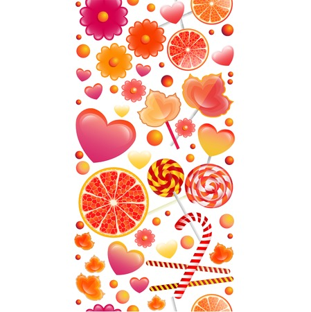 sienna: Vector seamless pattern with vertical band of sweets and lollipops. Background for your design, textile, fabric, surface textures, packaging. Illustration