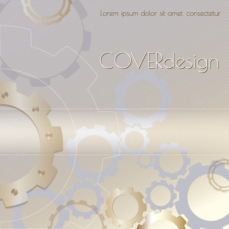 rackwheel: Vector square brochure cover design with golden  cogwheels  on light silver background. Abstract technology digital concept background.