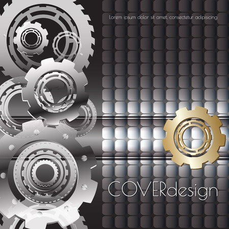 rackwheel: Vector square brochure cover design with black, white and   golden cogwheels  on dark  background. Abstract technology digital concept background.
