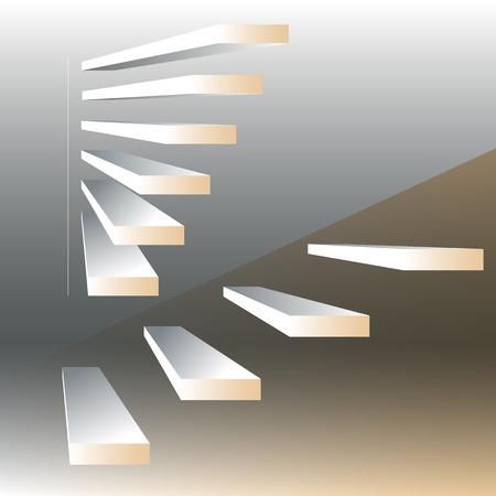 rise to the top: Vector illustration with  stairs on drey background.  3d geometric background.