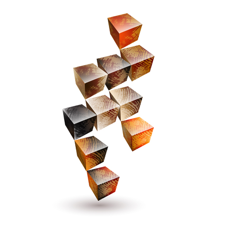 Vector illustration with  isolated wood  texture striped blocks on white background. Abstract wooden textured cubes in perspective. Illustration