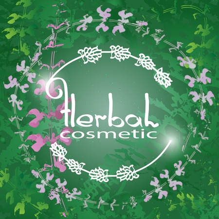 herbal background: Herbal Cosmetic theme vector illustration with  herbs and flowers on green background. Badge template with with text Herbal cosmetic.