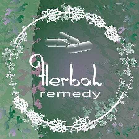 remedy: Herbal Remedy theme vector illustration with  herbs and flowers on green background. Badge template with with text Herbal Remedy.