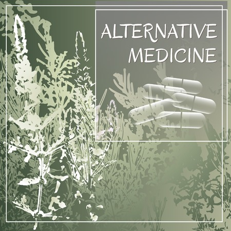alternative medicine: Alternative medicine theme vector illustration with  herbs and herbal pills. Badge template with text Alternative medicine. Illustration
