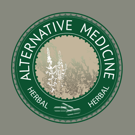 Alternative medicine theme vector illustration with  herbs and herbal pills. Badge template with text Alternative medicine. 免版税图像 - 51564142