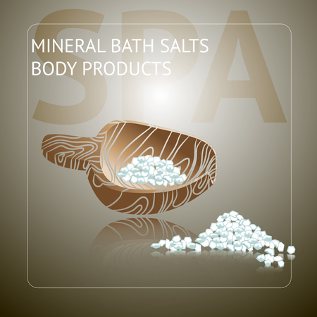 Spa background with sea salt on wooden spoon. Natural product theme vector illustration.