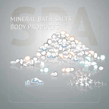 Spa background with sea salt on grey background. Natural product theme vector illustration.