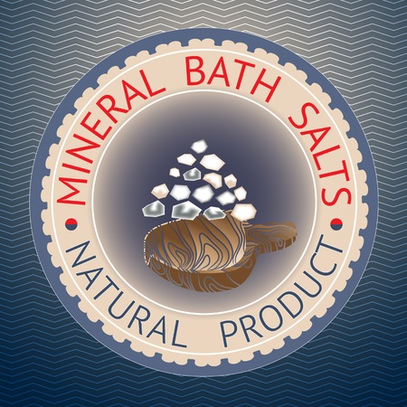salts: Natural product theme vector illustration. Badge template with text Mineral Bath Salts, Natural Product.