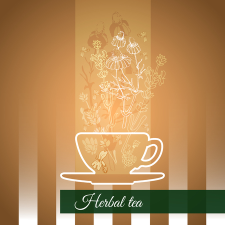 aide: Vector illustration herbal tea theme with silhouette cup, flowers and leaves on a striped background.
