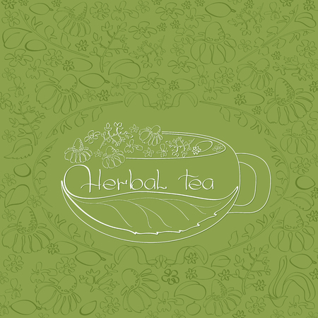 chamomile tea: Vector  illustration  with  hand  drawn  white silhouette herbal tea theme on a green floral background with chamomile and leaves.